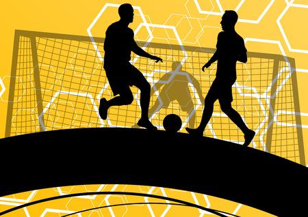 Giocatore di calcio degli uomini sagome con palla in background attivi e sani dello sport illustrazione vettoriale Archivio Fotografico - 54694197
