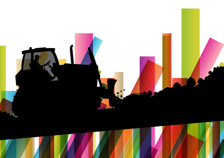 earth moving: Excavator bulldozer industrial land digging machinery silhouette in abstract construction site business economy background vector concept illustration Illustration
