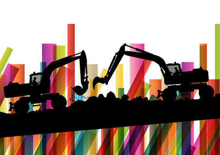 digging: Excavator bulldozer industrial land digging machinery silhouette in abstract construction site business economy background vector concept illustration Illustration