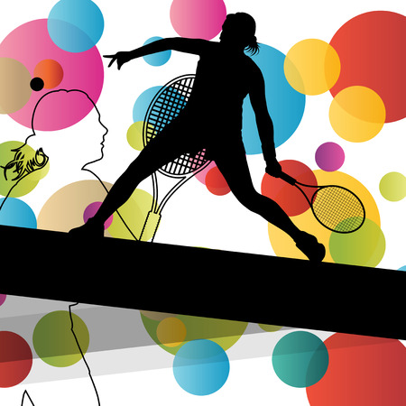 tennis serve: Tennis player women girl silhouettes in abstract sport color background vector illustration