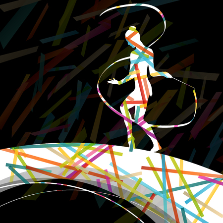 sports recreation: Dancing carnival woman with ribbon silhouette in abstract circus color background vector illustration Illustration