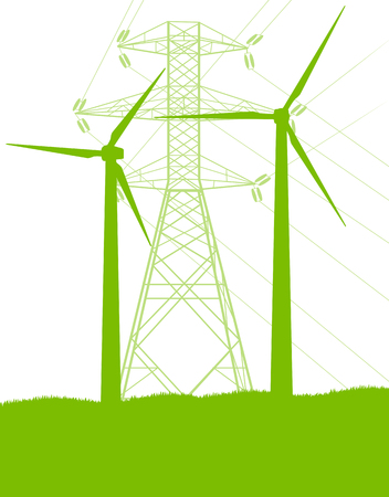 Wind generator and high voltage towers vector background ecology green concept