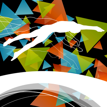 fit: Swimming people fit and active healthy silhouettes isolated sport color abstract shape background vector illustration