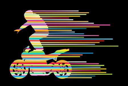 stunt: Motorbike rider vector background trick stunt illustration concept made of stripes