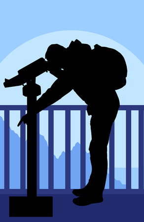 looking at view: Tourist man looking through coin operated binoculars tower view vector background forest landscape