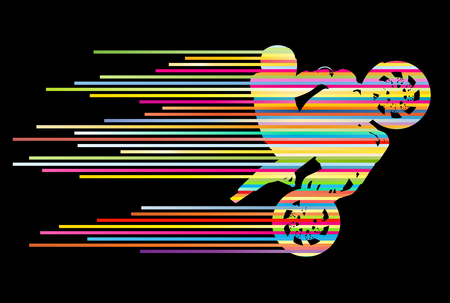 stunts: Motorbike rider vector background trick stunt illustration concept made of stripes