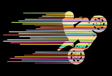 motor race: Motorrijder vector achtergrond truc stunt illustratieconcept gemaakt van strepen