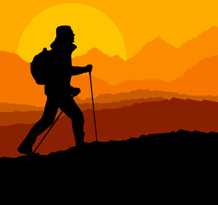 walking trail: Man hiking in mountains adventure nordic walking with poles in nature vector background illustration landscape