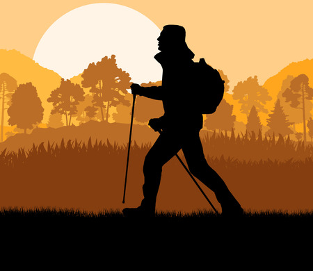 jogging in nature: Man hiking in mountains adventure nordic walking with poles in nature vector background illustration landscape