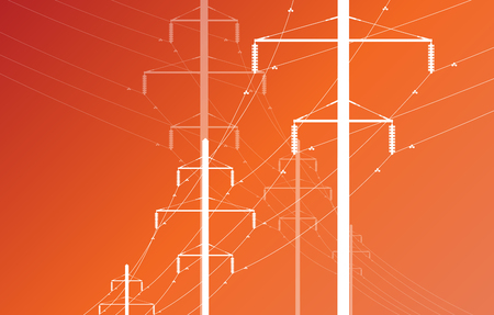 power distribution: High voltage power line grid vector background Illustration