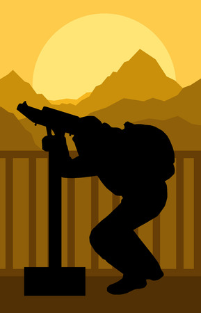 binoculars view: Tourist man looking through coin operated binoculars tower view vector background forest landscape