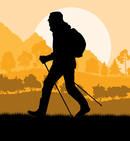 Man hiking in mountains adventure nordic walking with poles in nature vector background illustration landscape