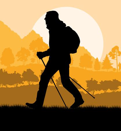 Man wandelen in de bergen avontuur nordic walking met wandelstokken in de natuur vector achtergrond illustratie landschap Vector Illustratie