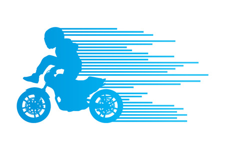 Motorbike rider vector background trick stunt illustration concept made of stripes