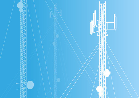 communication tower: Communication transmission tower radio signal phone antenna vector
