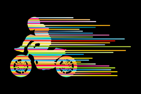 motorbike jumping: Motorbike rider vector background trick stunt illustration concept made of stripes