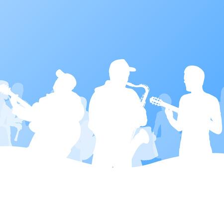 improvised: Jazz music band vector background illustration Illustration