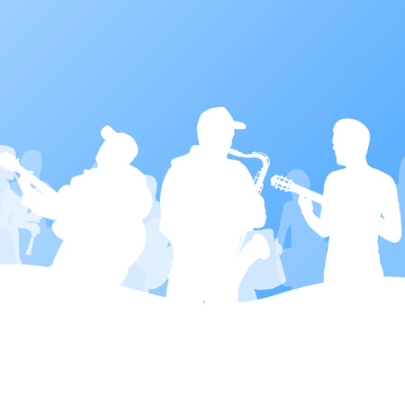 tenor: Jazz music band vector background illustration Illustration