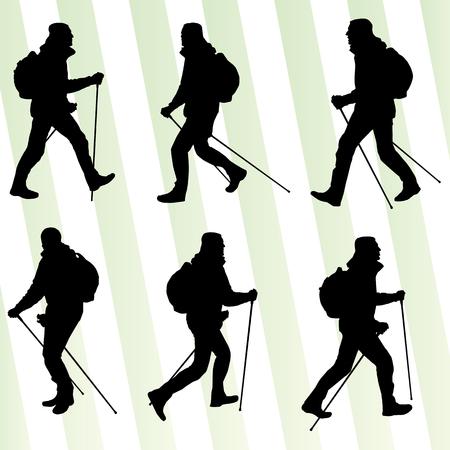 Hombre senderismo aventura nordic walking con los postes de ilustración vectorial conjunto