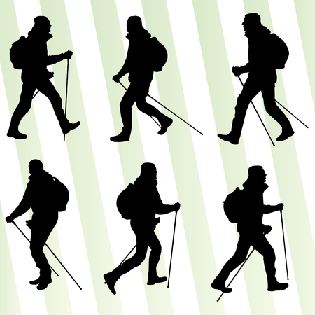 Man hiking adventure nordic walking with poles vector illustration set