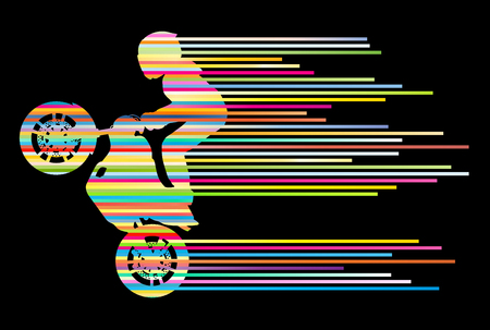 motors: Motorbike rider vector background trick stunt illustration concept made of stripes
