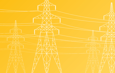 power grid: High voltage power line grid vector background Illustration