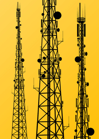 towers: Communication transmission tower radio signal phone antenna vector