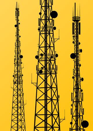 Transmisja sygnału radiowego Komunikacja wieży anteny telefonu wektor Ilustracje wektorowe