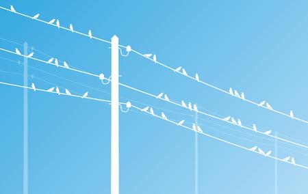 volt: High voltage power line grid vector background Illustration