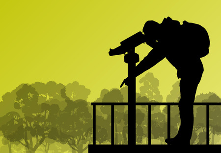 operated: Tourist man looking through coin operated binoculars tower view vector background forest landscape