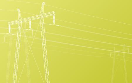 Haute tension ligne électrique vecteur de grille fond