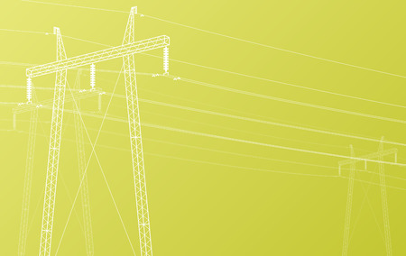 pylon: High voltage power line grid vector background Illustration