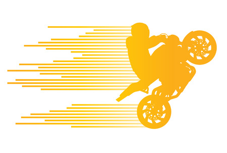 extreme sports: Motorbike rider vector background trick stunt illustration concept made of stripes