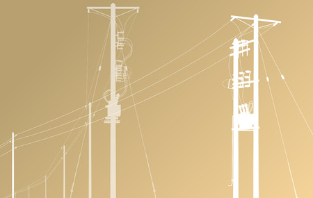 electric utility: High voltage power line grid vector background Illustration