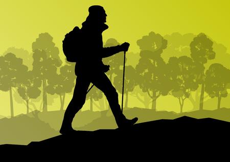 senderismo en las montañas Hombre aventura nordic walking con los postes en la ilustración de fondo vector de la naturaleza del paisaje