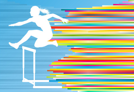female athlete: Female athlete jumping over hurdles, overcoming obstacles vector background illustration