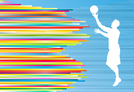 rebound: Basketball player white silhouette vector illustration on colorful background