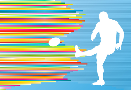 tackling: Rugby player silhouette abstract vector background concept