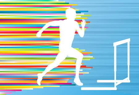 track and field athlete: Track and field athlete competing during hurdle race barrier running vector background concept