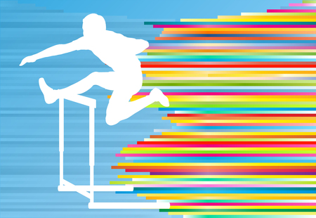 hurdles: Track and field athlete competing during hurdle race barrier running vector background concept