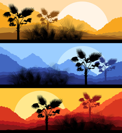 feathery: Palm leaves nature landscape romantic sunset background vector