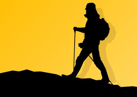 Man randonnée dans les montagnes aventure marche nordique avec des bâtons dans la nature, vecteur, fond illustration paysage Vecteurs