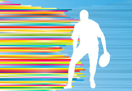 football tackle: Rugby player silhouette abstract vector background concept