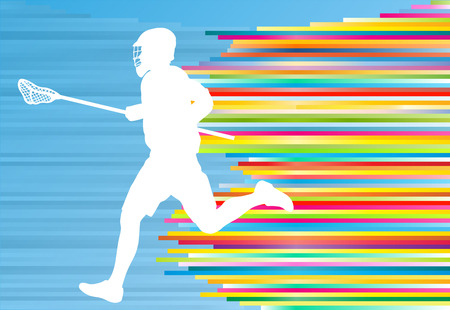 high school: Lacrosse player action vector background concept