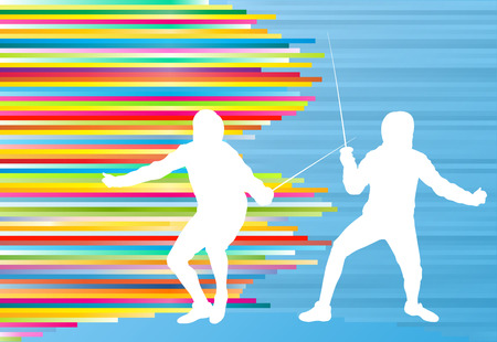 Fencing man duel abstract lines vector background concept illustration