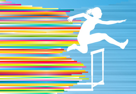 hurdles: Female athlete jumping over hurdles, overcoming obstacles vector background illustration