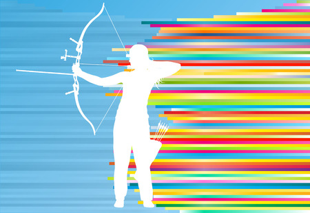 Archer woman training with bow vector background abstract illustration