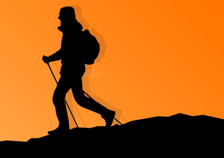 Man wandelen in de bergen avontuur nordic walking met wandelstokken in de natuur vector achtergrond illustratie landschap