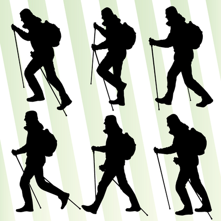 walking stick: Man hiking adventure nordic walking with poles vector illustration set Illustration