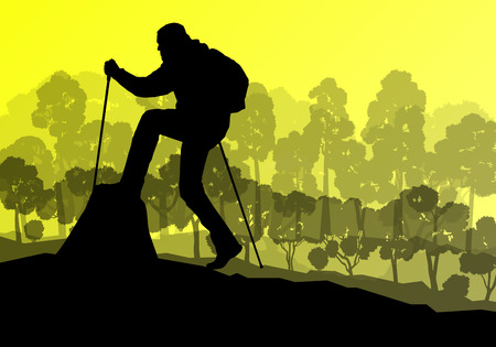 man looking at sky: Man hiker Nordic walking with poles vector background forest mountain landscape